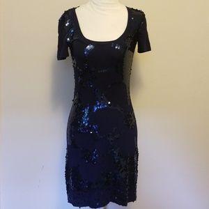 Trina Turk Navy Sequined Knit Dress
